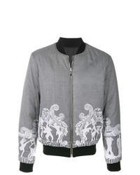 graue bedruckte Bomberjacke von Versace Collection