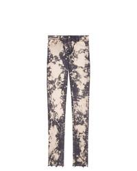 graue bedruckte enge Jeans von Gucci