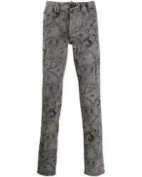 graue bedruckte enge Jeans von Philipp Plein