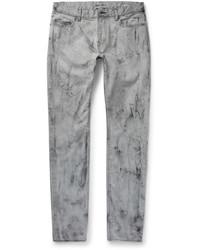 graue bedruckte enge Jeans von Saint Laurent