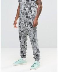 graue bedruckte Jogginghose von adidas