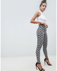graue bedruckte Leggings von ASOS DESIGN