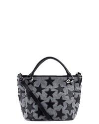 graue bedruckte Shopper Tasche aus Leder von FEYNSINN