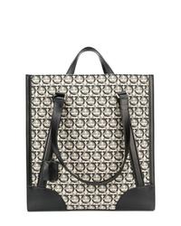 graue bedruckte Shopper Tasche aus Segeltuch von Salvatore Ferragamo