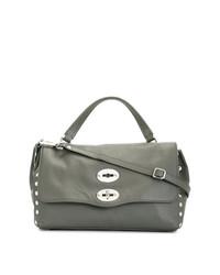 graue beschlagene Shopper Tasche aus Leder von Zanellato