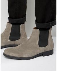 graue Chelsea-Stiefel aus Wildleder von Selected