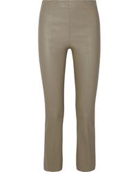 graue enge Hose aus Leder von By Malene Birger