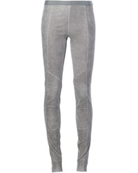 graue enge Hose aus Leder von Ilaria Nistri