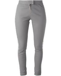 graue enge Hose aus Leder von Philipp Plein