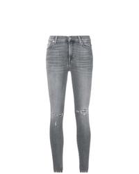 graue enge Jeans mit Destroyed-Effekten von 7 For All Mankind