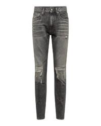 graue enge Jeans mit Destroyed-Effekten von Calvin Klein