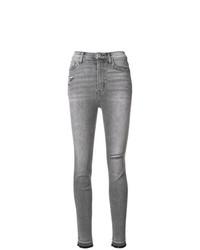 graue enge Jeans mit Destroyed-Effekten von Current/Elliott