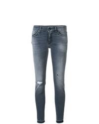 graue enge Jeans mit Destroyed-Effekten von Dondup