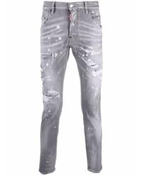 graue enge Jeans mit Destroyed-Effekten von DSQUARED2