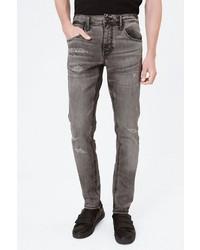 graue enge Jeans mit Destroyed-Effekten von Harlem Soul