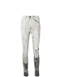 graue enge Jeans mit Destroyed-Effekten von Marcelo Burlon County of Milan
