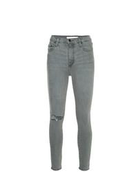 graue enge Jeans mit Destroyed-Effekten von Nobody Denim