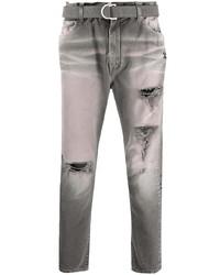 graue enge Jeans mit Destroyed-Effekten von Off-White