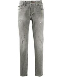 graue enge Jeans mit Destroyed-Effekten von Philipp Plein