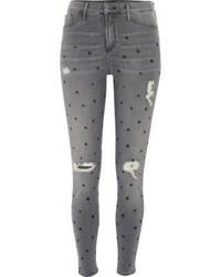 graue enge Jeans mit Sternenmuster