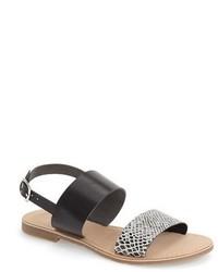 graue flache Sandalen aus Leder mit Schlangenmuster