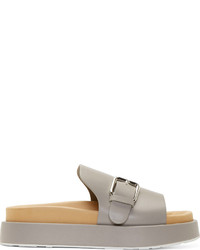 graue flache Sandalen aus Leder