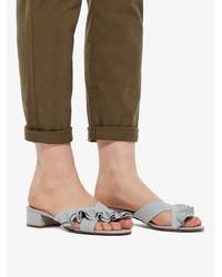 graue flache Sandalen aus Leder von Bianco