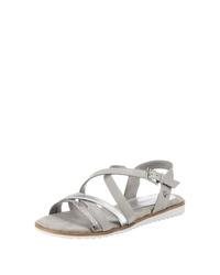 graue flache Sandalen aus Leder von Tom Tailor