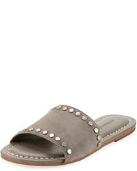 graue flache Sandalen aus Wildleder