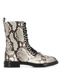 graue flache Stiefel mit einer Schnürung aus Leder mit Schlangenmuster von Casadei