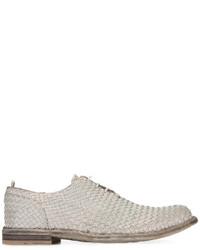 graue geflochtene Leder Oxford Schuhe von Officine Creative