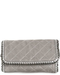 graue gesteppte Leder Clutch von Stella McCartney