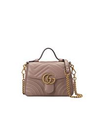 graue gesteppte Leder Umhängetasche von Gucci