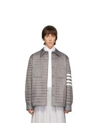 graue gesteppte Shirtjacke aus Nylon von Thom Browne