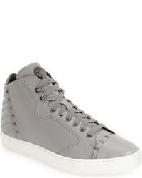 graue Hohe Sneakers aus Leder