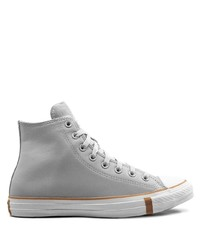 graue hohe Sneakers aus Leder von Converse