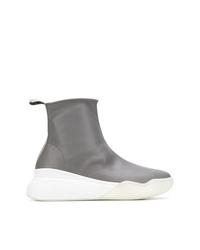graue hohe Sneakers aus Leder von Stella McCartney