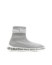 graue hohe Sneakers aus Segeltuch von Miu Miu