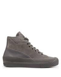 graue hohe Sneakers aus Wildleder von Stone Island