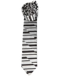 graue horizontal gestreifte Krawatte von Emporio Armani