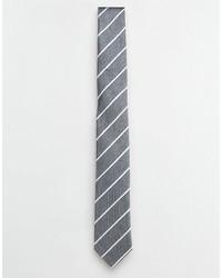 graue horizontal gestreifte Krawatte von Selected