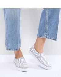 graue horizontal gestreifte Slip-On Sneakers von ASOS DESIGN