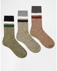 graue horizontal gestreifte Socken von Asos