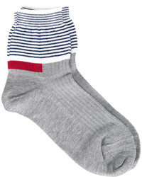 graue horizontal gestreifte Socken von Undercover