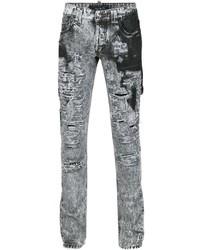 graue Jeans mit Destroyed-Effekten von Philipp Plein