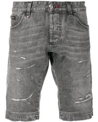 graue Jeansshorts mit Destroyed-Effekten von Philipp Plein