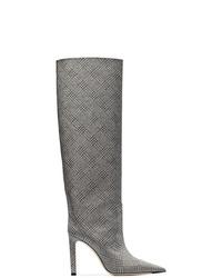 graue kniehohe Stiefel aus Leder von Jimmy Choo