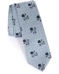graue Krawatte mit Blumenmuster