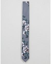 graue Krawatte mit Blumenmuster von Asos