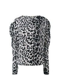 graue Langarmbluse mit Leopardenmuster von Saint Laurent